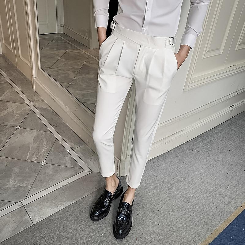 2020 NEW White Wedding Dress Pants For Men Business Suit Pant Casual Slim Fit Formal Pants Pantalon Costume Men's Suit Trousers