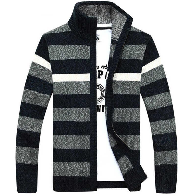 ผู้ชายกำมะหยี่ Stripe เสื้อกันหนาวฤดูหนาวรูปแบบสไตล์ขนสัตว์ Cardigan ชายสบายๆอบอุ่นขนแกะเสื้อกันหนาวสำหรับ Man Hombre
