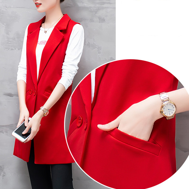 Vest For Women Sleeveless Jacket Coat Long Vest Blazer Formal Work Ladies Office Vintage Slim Suit Waistcoat Female Plus Size 4