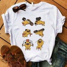 Harajuku Summer Female T-shirt pug T-Shirt French Bulldog cute print T Shirt women Short Sleeves T Shirt Casual Tee Tops