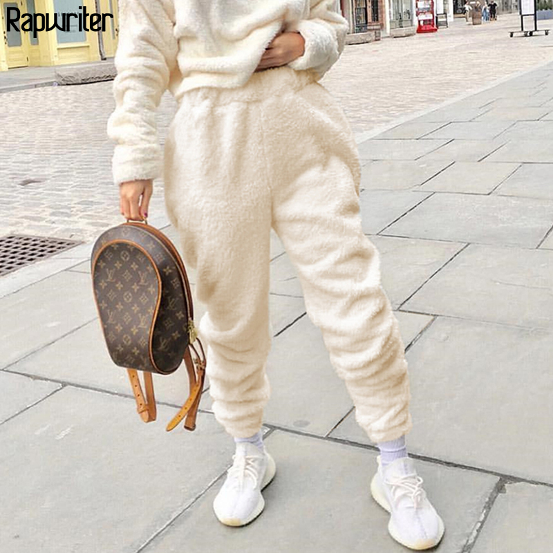 Rapwriter Autumn Winter Keep Warm Furry Cozy Joggers Trousers Women 2019 Streetwear Solid Wool Sweatpant Fleece Pantalon White
