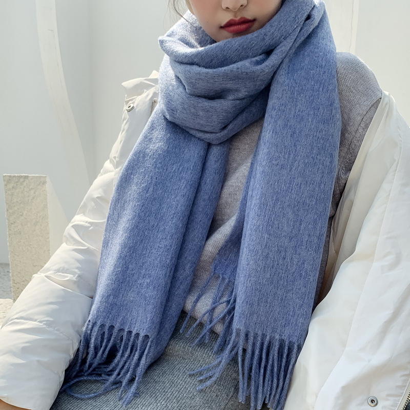 100% Pure Wool Shawl Winter Cashmere Scarf Warm for ladies Men Long Thickened scarf oversized