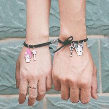 2021 Romantic 2pcs/pair Magnet Couple Bracelet For Lovers Cute Cartoon Matching Partner Braslet Friendship Jewelry Birthday Gift
