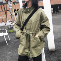 Autumn 2019 Harajuku Style Big Pocket Jacket Women Stand Collar Bf Loose Coat Female Green Long Sleeve Coat Female