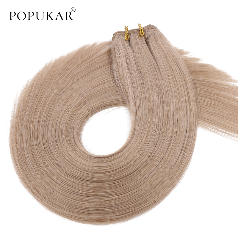 Popukar Light Brown Cuticle Aligned Remy Virgin Human Hair Cambodian Raw Hair Weft Remy Hair Bundles Silky Straight