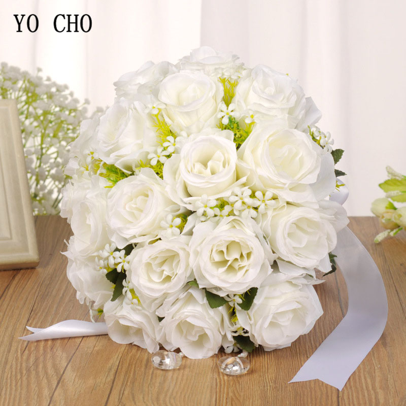 YO CHO Bouquet Bride Wedding Flower Artificial Silk Rose Bouquet White Fake Pearl Crystal Bridesmaid Party Prom Wedding Supplies
