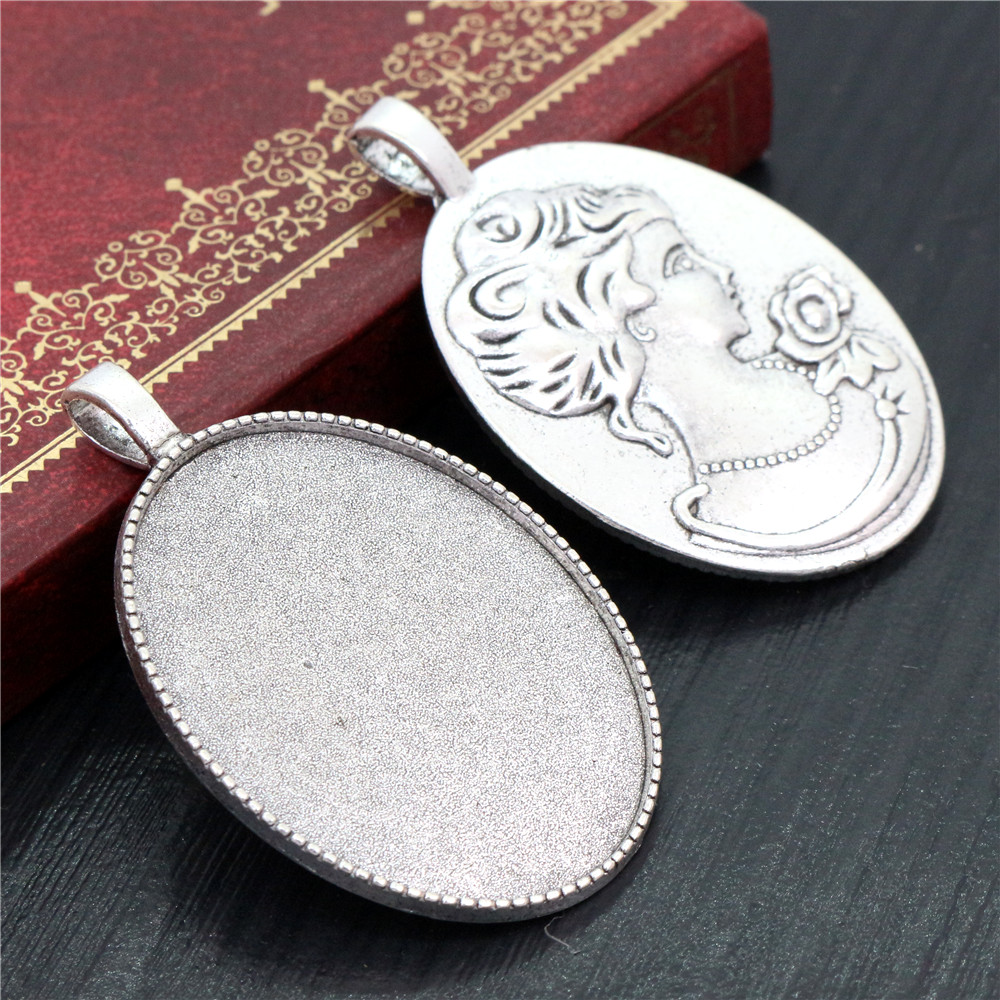 New Fashion  5pcs 30x40mm Inner Size Antique Silver Plated Simple Style Cabochon Base Setting Charms Pendant (B3-29)