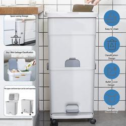 25/40L Grote Capaciteit 2 Lagen Vuilnisbakken Nat En Droog Vuilnis Sorteren Emmer Keuken Verticale Wielen Afvalbak recycling Opslag