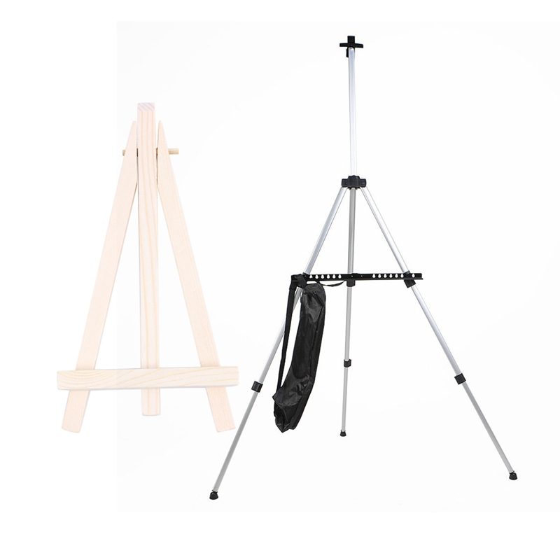 1Pcs Adjustable Aluminum Artist Sketching Painting Display Easel Stand + Carrying Bag (Silver) & 1Pcs Wooden Cafe Table Number E