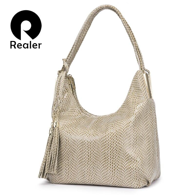 REALER Women Shoulder Bag Female Large Hobos Bag Luxury Handbag With Top-handle For Ladies Artificial Leather Tote Bag Tassel