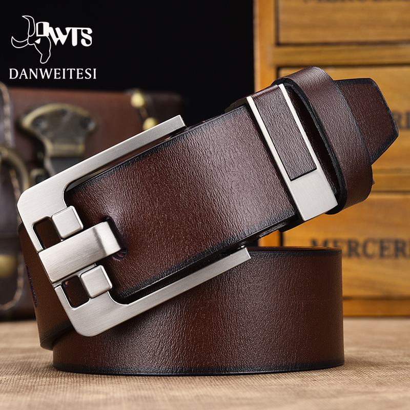 [DWTS]men Belt Male Leather Belt Men High Quality Genuine Leather Strap Luxury Pin Buckle Fancy Vintage Jeans Free Shipping