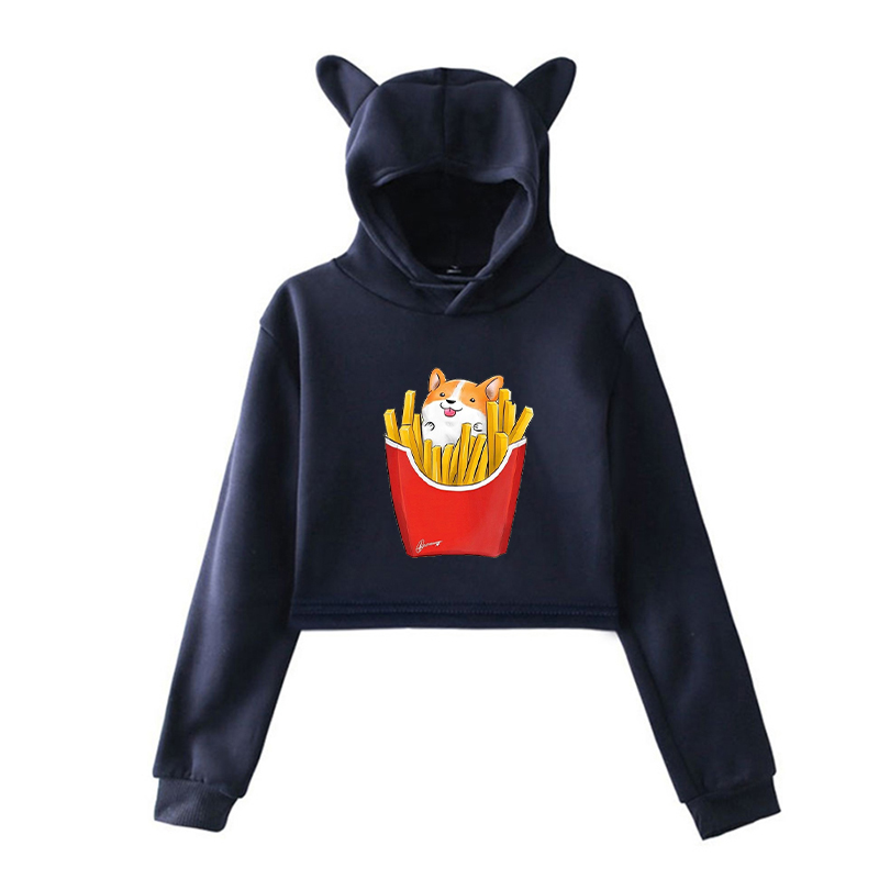Autumn Boys/Girls Harajuku Cotton Cat Ear Sweatshirts Corgi Dog Short Hooded Pullovers Women Men Kawaii Sportswear Funny Hoodies