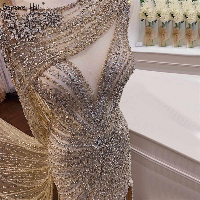 Serena Hill di Lusso Champagne con Scollo a V Sexy Abito da Sera 2020 Diamante Che Borda Senza Maniche Della Sirena Convenzionale Del Partito Dell'abito di CLA70301