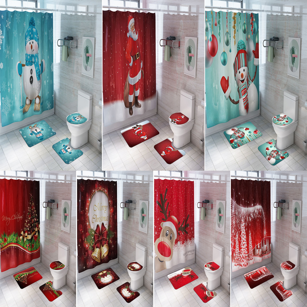 Merry Christmas Bathroom Set Snowman Santa Claus Elk Pattern Waterproof Shower Curtain Toilet Cover Mat Non Slip Rug Home Decor