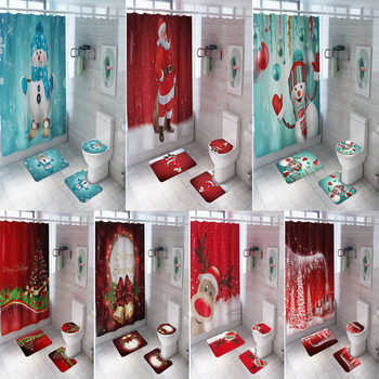 Christmas Printed Bathroom Curtain Set With Non Slip Rug Made Of PVC Material For Bathroom Window