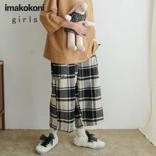 Черно белые клетчатые прямые брюки imakokoni оригинальный дизайн