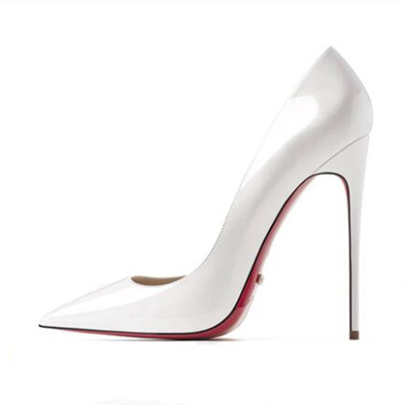 Bright White Women Sexy Pumps Summer Women's High Heeled Shoes Shallow Stilettos Red Bottom Shoe Genuine Leather Spring