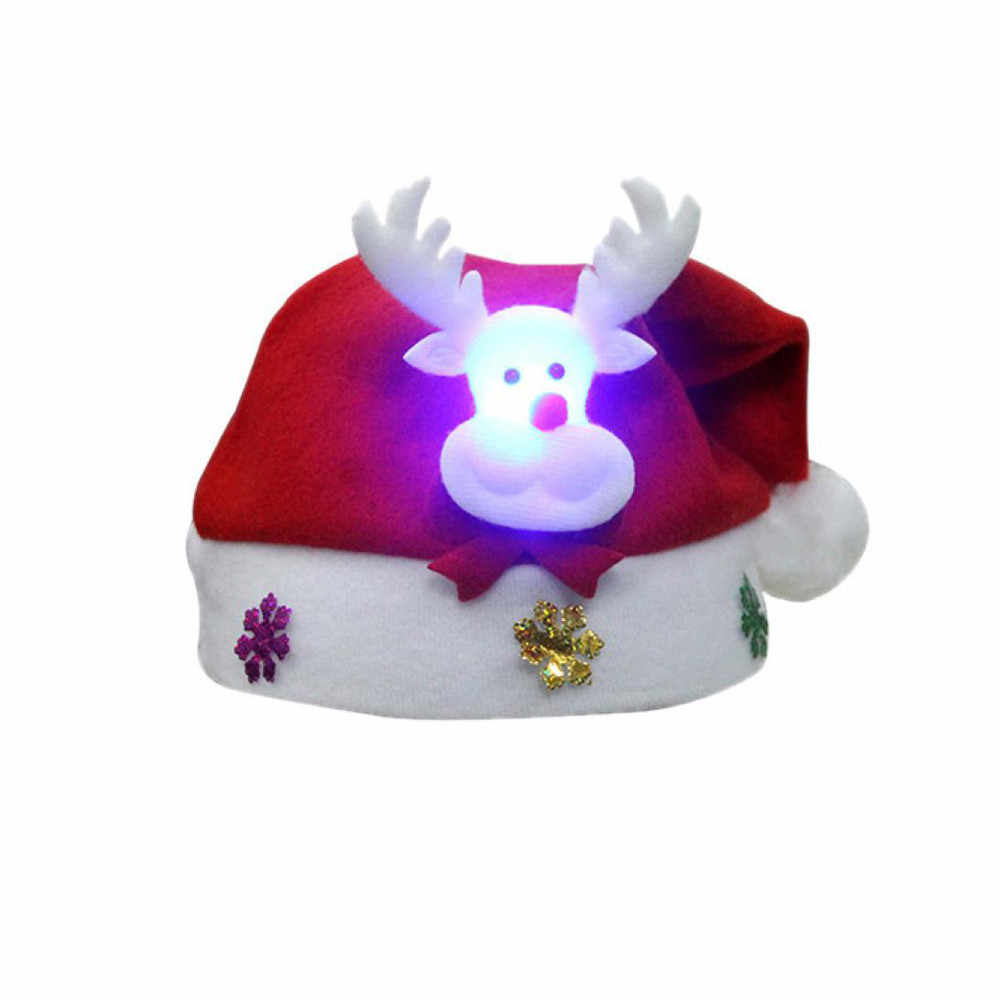 Christmas Hat  Christmas Decorations New Year For Home Adult LED Christmas Hat Santa Claus Reindeer Snowman Xmas Gifts Cap #37
