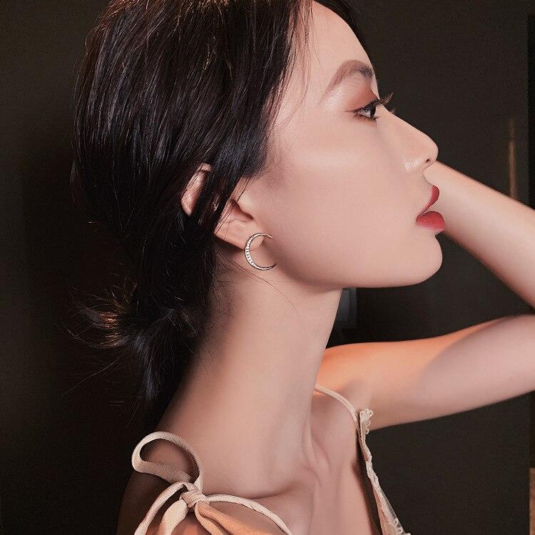 Trendy Crystal Moon Women Dangle Earrings Korean Asymmetric Moon Star Earrings Bohemian Drop Earrings Jewelry Earrings