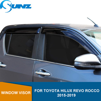 цена на Side Window Deflectors For Toyota Hilux Revo Rocco 2015 2016 2017 2018 2019 Double Cab Acrylic Black Car Wind Shield SUNZ