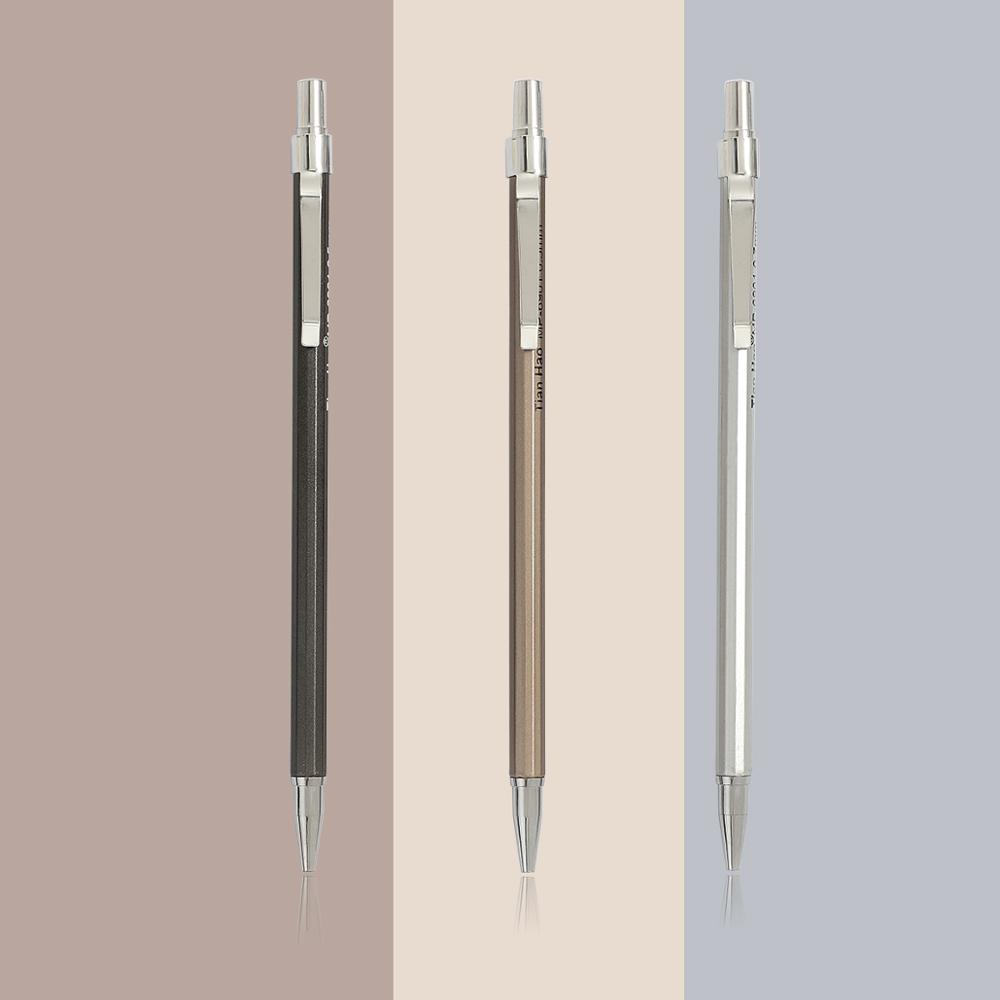 1pc 0.5mm 0.7mm Simple Metal Texture Mechanical Pencil  Drafting Pencil Plastic Material Office Supplies