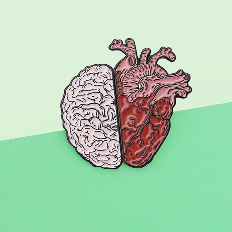 Cartoon Half Organ Heart Brain Brooch Enamel Pins Rational Medical Anatomy Art Organ Human Medicine Brooch Gift Badges Jewelry|Brooches|   - AliExpress