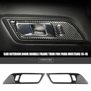 2Pcs For Ford Mustang 2015-2018 Carbon Fiber Interior Door Handle Cover Trim Sticker