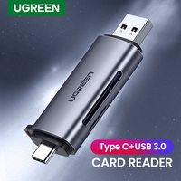 UGREEN-lector de tarjetas USB 3,0 tipo C a SD, adaptador Micro SD TF para PC, portátil, accesorios, OTG, lector de tarjetas de memoria inteligentes