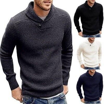 Helisopus 2019 Autumn Winter Men Sweater Casual Slim Men's Pure Color One Button Warm Turtleneck Sweaters M-2XL