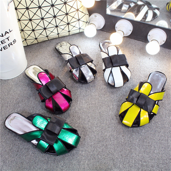 Slippers Mules Women Summer Shoes Hollow Jelly Shoes Bow Tie Fashion Slides Green Slippers Sexy Outdoor Ladies Shoes Big Size 43