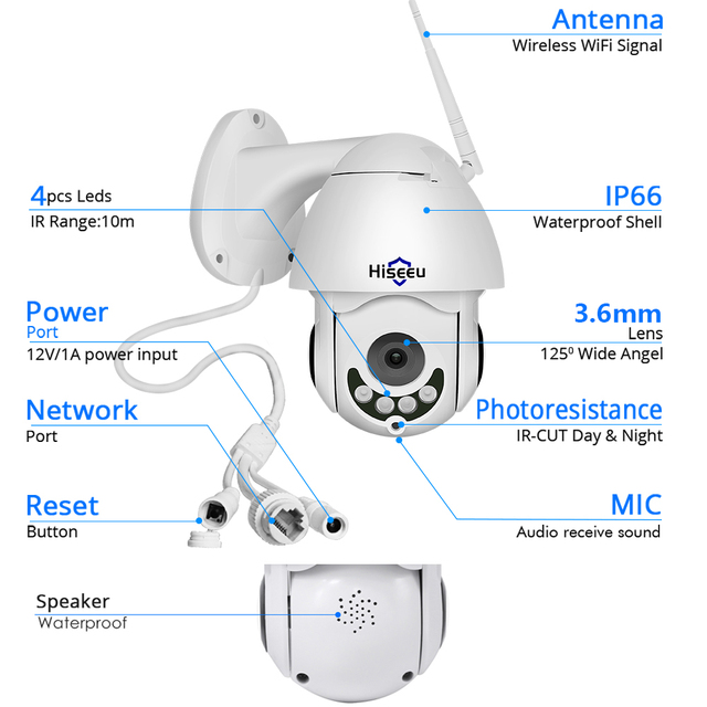 Hiseeu 1080P Wireless PTZ Speed Dome IP Camera WiFi Outdoor Two Way Audio CCTV Security Video Network Surveillance Camera P2P 5