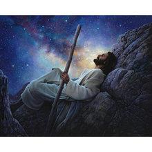 Diy картина по номерам Иисуса в ночном небе комплект маслом