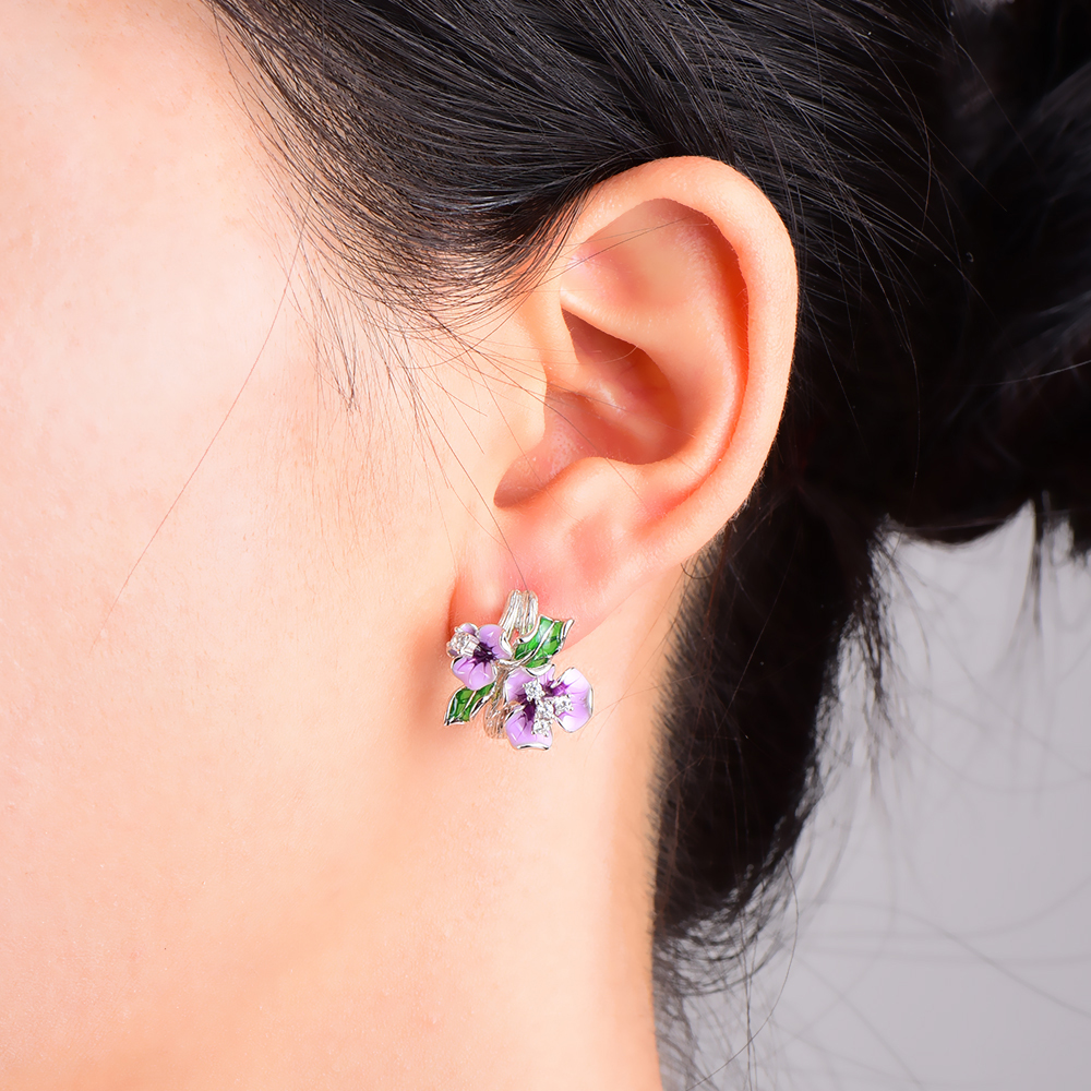 RainMarch Flower Enamel Silver Stud Earring For Women Engagement Earring 925 Sterling Silver Earrings Wedding Party Jewelry