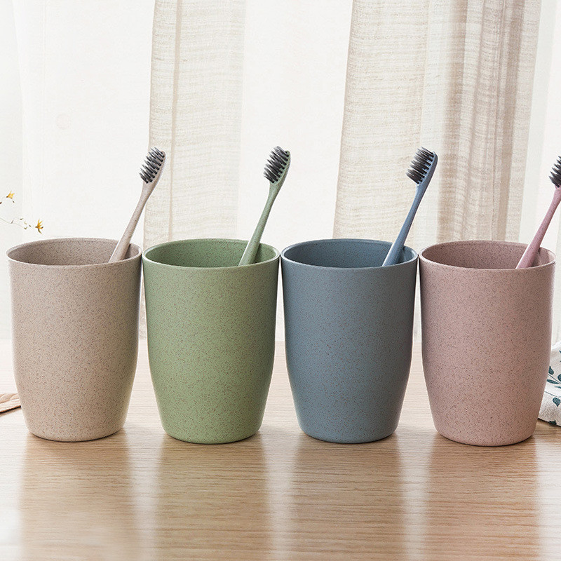 Eco-friendly Creative Cup Nordic Style Travel Mug Office Coffee Tea Water Bottle Cups Straw Wheat Plastic Toothbrush Cup