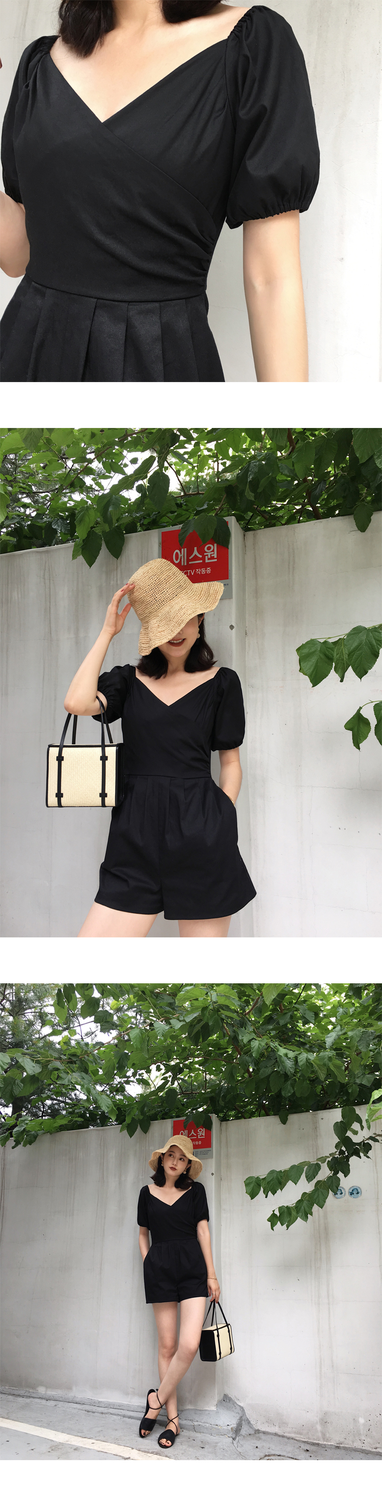 H176bcdf208174f03a2ab9eff13683c4d0 - LLZACOOSH Runway Women Solid Rompers Summer Short Puff Sleeve Casual Playsuits Holiday Short Beach Holiday Jumpsuits