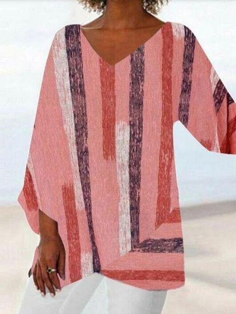 Women Casual Long Sleeve V-neck Striped Printed Irregular Hem Top Dress 3