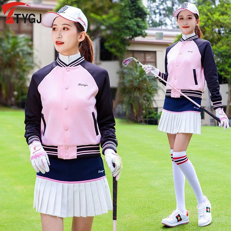Tampão de Golfe para Mulheres Uniforme de Beisebol Jaqueta de Golfe Manga Comprida Brasão Jacket Outwear Tops Casual Elegante Feminino Outono Inverno Golf Pano 2020