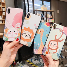 JAMULAR Cartoon Lion Giraffe 3D Emboss Fitted Case For iPhone XR XS MAX X 8 7 6 6s Plus Monkey Rabbit Soft Phone Cover Coque Bag
