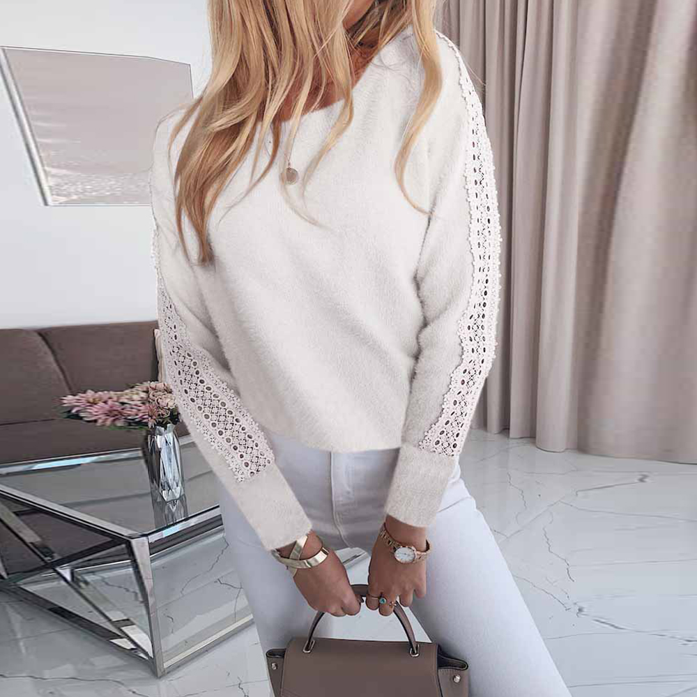 Women Sweater Pullover Lace Patchwork Hollow Out Sweater Ladies Knitted Tops Sexy Bandage Open Back Female Knit Sweaters D30