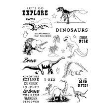 Прозрачный силиконовый штамп с динозавром/печать для скрапбукинга