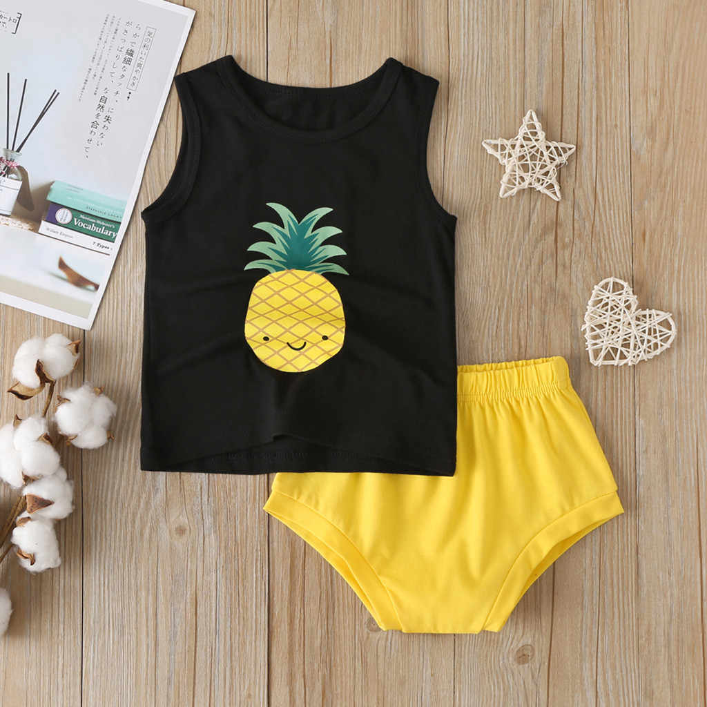 Girls Clothes Sets New Summer Baby Sleeveless Costume 2pcs Baby Outfits Boys Girls Cartoon Pineapple Vest Tops+Shorts Sets