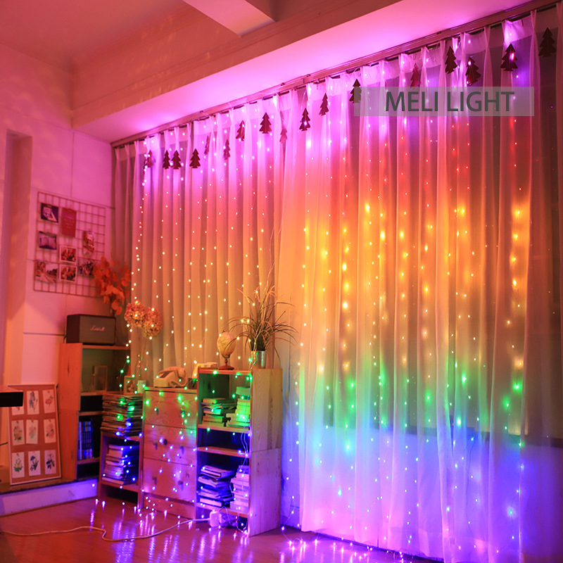 1 5X2M Rainbow Curtain Lights LED String Garland Fairy Icicle Decorative Lights for Christmas Party Bedroom Wall Wedding Decor