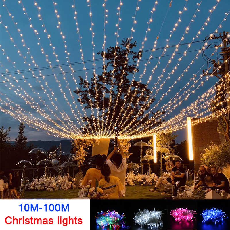 10M Outdoor Patio LED String Lights Lengthen 100M Fairy Light For Garden Decor
