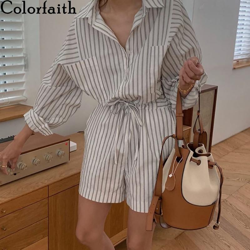 Colorfaith 2020 New Autumn Winter Woman Jumpsuits & Rompers Fashionable Oversize Empire Lace Up Wide Leg Shorts Playsuit JS8136