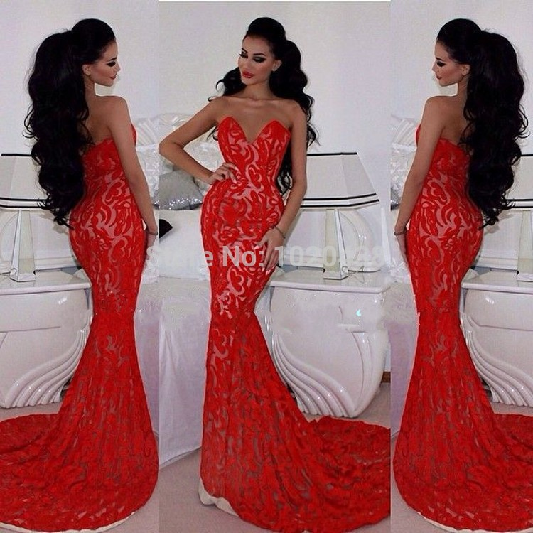 Vestido De Festa Fabulous Sweetheart Off Shulder Long Red Lace Mermaid Prom Dress 2015 Court Train Free Shipping Evening Dresses