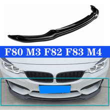 M3 M4 Real Carbon Front Bumper Lip For BMW 3 Series F80 4 F82 F83 Gloss Black V Style