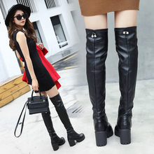 Black Shoes woman Long Boots Thigh High boots High heels Botines Mujer 2018 bota feminina booties dr martins boots women(China)
