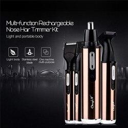 4 em 1 moda original nariz aparador de barbear elétrico seguro rosto cuidados trimer recarregável nariz cabelo trimer para mulheres masculinas p49