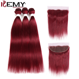 Image 2 - 99J/Burgundy Red Color Brazilian Straight Human Hair Bundles With Frontal 13x4 KEMY Pre Colored 3 Bundles With Closure Non Remy