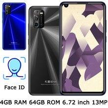 Мобильный телефон 6,72 дюйма, Face ID 6A, Android, передняя/задняя камера, глобальная версия, 4 Гб ОЗУ + 64 Гб ПЗУ, 8 Мп + 13 МП